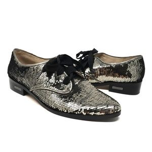 Louise et Cie | Sequin metallic oxford shoes, 8.5